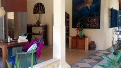 Open living in private Seminyak Villa (scinta1) Tags: indonesia bali seminyak villa peaceful tranquil restful tropical flowers bohemian private chairs decoration art painting
