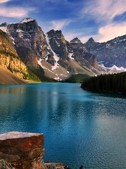 Perfect spot for a tripod - iPhone (Jim Nix / Nomadic Pursuits) Tags: iphone snapseed travel alberta canada banff morainelake sunset jim nix goldenhour reflections mountains clouds alpine glacier glacial