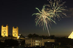 Rivercats Fireworks 7-3 4 (dcnelson1898) Tags: sacramento sacramentocounty sacramentorivercats oldtown california longexposure nightphotography night urban city fireworks nikond810 towerbridge centralvalley northerncalifornia