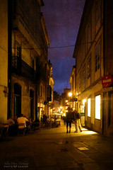 oncoming night (*silviaON) Tags: city santiagodecompostela caminhoportuguês street night people textured flypaper