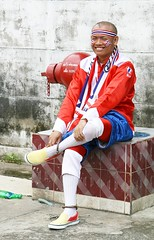 dodo, the national cheerleader (the foreign photographer - ฝรั่งถ่) Tags: dodo national cheerleader seated fire hydrant costume red white blue bangkhen bangkok thailand canon kiss