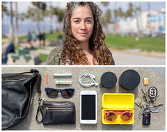Valerie Diptych (J Trav) Tags: persona diptych portrait whatsinyourbag theitemswecarry showusthecontentsofyourbag venice california woman spectacles thingsorganizedneatly