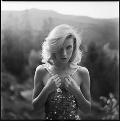 Angel-a (Radoslaw Pujan) Tags: rolleiflex sl66 tilt mountains portrait dress woman beauty film analog ilford hp5 hands light