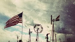 as american as apple pie...(Explored) (BillsExplorations) Tags: windmill windmillwednesday waterpump water wind farm agriculture vintage retro old flag starsandstripes american applepie hannibal missouri illinois mississippiriver marktwain snapseed filter americana
