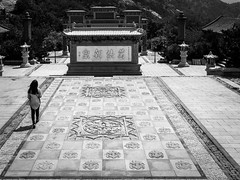 Walk the line (Go-tea 郭天) Tags: qingdaoshi shandongsheng chine cn qingdao huangdao candid ancient xiao zhoushan temple moutain woman young lady visitor exit line walk walking sun sunny shadow buddha buddhism buddhist religion religious traditional tradition history historical historic place floor mountain alone lonely street urban city outside outdoor people bw bnw black white blackwhite blackandwhite monochrome naturallight natural light asia asian china chinese shandong canon eos 100d 24mm prime wall design specific beautiful leave leaving back backside