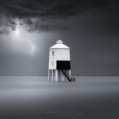 """ ON GUARD "" (artursomerset) Tags: fineart blackandwhite mono burnhamonsea ocean longexposure lightning storm water sea thunder"