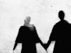 Soulmates forever (Lucas Harmsen) Tags: sony rx10 sonyrx10 lucasharmsen monochrome blackwhite blackwhitephotography soulmates motion emotion streetphotography negativespace blur grain grainy lhbt