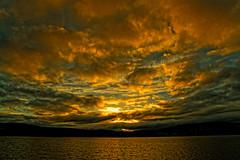 Lintrathen Loch sunset. (alan.irons) Tags: sunset lintrathen loch water scotland angus scottishwater clouds glow glowing freshwater lake orangeskies bluesky dramatic atomspheric shimmering mountains fiery reservoir canoneos1dxmkll waterscape sunlight sun