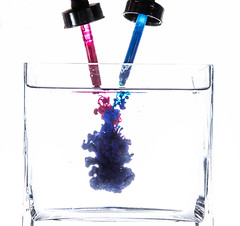 Ink in the Drink (Explored) (lclower19) Tags: 2652 522017 submerged ink water odc glass sb600 magenta blue droppers explored