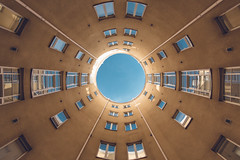 The Portal, Kolmas Linja (Bunaro) Tags: nordic classicism architecture portal courtyard round blue clear sky kolmas linja helsinki finland suomi gate otherworld world visitfinland symmetry