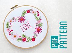 Love Heart Hoop Art Pattern, Flower Hand Embroidery Download, Modern Needlework Tutorial PDF, Pretty Pink Embroidery, DIY Wedding Decor by OhSewBootiful (ohsewbootiful) Tags: embroidery etsy etsyuk gifts giftsforher homedecor hoopart fiberart handembroidery handmade etsyseller embroideryhoop shophandmade handmadegifts decor wallhanging bestofetsy