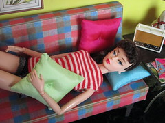 Lazy day (Wandy in Pensacola) Tags: barbie vintage repro repaint frankendolly mattsutton matthewsutton dreamhouse 1962 dollhouse dollshouse one sixth scale playscale diorama miniature doll bambola poupee puppe pop docka boneca muñeca casademuñeca throw pillows