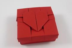 Broken Heart Box (heart not broken yet) (Michał Kosmulski) Tags: origami box heart broken love michałkosmulski tantpaper red