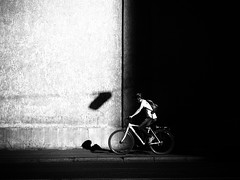 contrast (Sandy...J) Tags: olympus monochrom blackwhite streetphotography black white wall light shadow biker noir man photography