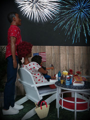 The big show (Foxy Belle) Tags: doll july 4th independence day usa united states holiday night outside yard diorama miniature 16 scale celebrate barbie playscale african american family
