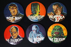 Monster Buttons (Elwar 1960's) (Donald Deveau) Tags: universalmonsters monstermovie wolfman frankenstein dracula phantomoftheopera themummy creaturefromtheblacklagoon pinbacks pins buttons famousmonsters elwar badges
