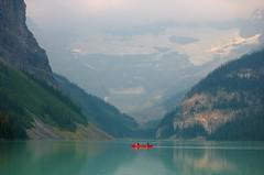 Red canoe at Lake Louise, Canada (L@nce) Tags: lake louise alberta canoe nikon paddle mountain glacier