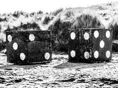 2D6 (SK51) Tags: art bw bamburghcastle blackandwhite canon40d dice england europe lightroom northumberland other structures tanktrap uk