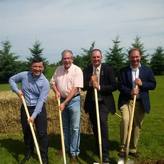 Breaking Ground at the Elora Beef Facility with (L-R) Ontario Agriculture Minister Jeff Leal, Beef Farmers of Ontario Vice-President Joe Hill, and Wellington-Halton Hills MPP Ted Arnott