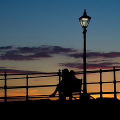 Watching The Sun Set (roseysnapper) Tags: northberwick olympusmzuiko1442mmf3556 olympusomdem10ii lamppost outdoor silhouette sky sunset