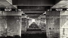 Under the Bridge (scrimmy) Tags: scotland dundee rivertay tayroadbridge outdoors blackandwhite monochrome toned
