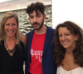 Collector Kathryn Mikesell with gallerist Anthony Spinello and Lori Nozick at the PAMM opening of the Jorge Perez Cuban art collection