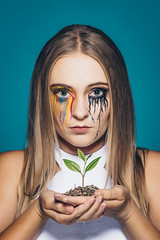 Silver lining (HOtography by Simon Ho) Tags: blonde bud hope mentalillness plant rainbow sprout tears leaf soil creativemakeup emotional turmoil cry crying