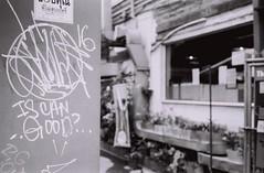 Is Can Good ? (35mm) (jcbkk1956) Tags: 45mmf28 carlzeiss graffiti dof streetfurniture street bangkok thailand pan100 ilford manualfocus analog 35mm film 167mt contax worldtrekker