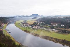 Along River Elbe (HansPermana) Tags: dreden sachsen saxony deutschland germany river elbe fluss water aerialview village rathen winter gloomy mountain