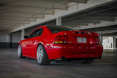 Cobra Summer | 3 (jackseyeview) Tags: nikon d7100 35mm cobra r cobrar terminator rio red slammed static coilovers graffitti parking garage 1999 99 mustang new edge newedge