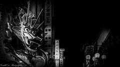 The Eye of The Dragon (Gerald Ow) Tags: dōtonbori geraldow sony a7rii a7rmk2 ilce7rm2 fe 2470mm f28 gm gmaster japan osaka a7r2 道頓堀 dragon bw black and white 大阪市 日本