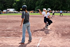BEATING THE THROW (MIKECNY) Tags: safe throw beatthethrow coach softball field highschool run runner firstbase solvay cohoes