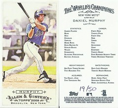 2009 Topps Allen & Ginter's Mini No Number (#19 / 50) DANIEL MURPHY (Infielder / Outfielder) New York Mets (#56) (Baseball Autographs Football Coins) Tags: 2009allenginters 2009toppsallenginters baseballcard minibaseballcard topps parallelcard miniparallelcard nonumber nocardnumber mini allenginter danielmurphy newyorkmets thirdbase secondbase firstbase outfielder