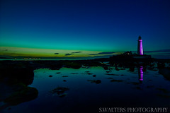 Smal bit of Aurora from last night at St Marys Lighthouse (sidrog28) Tags: aurora lighthouse st marys white whitley bay calm night iso newcastle north east ocean sea rocks