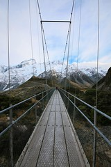 40/117 Over (PalmyLisa) Tags: muellerriver hookervalley mtcook southisland newzealand river mountains snow cold ice scenery views outdoors rocks bridge swing