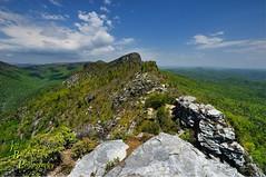 The Jonas Ridge (VonShawn) Tags: landscape nature mountains sspring rocks boulders clouds northcarolina blueridgemountains jonasridge tablerock thechimneys mountainstoseatrail linvillegorge