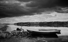 No-travel day (MarxschisM) Tags: latvia ogre daugava river boats clouds dark