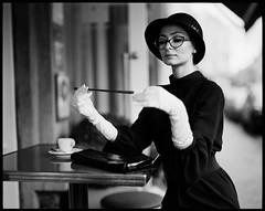 audrey hepburn (Radoslaw Pujan) Tags: film analog audrey hepburn pentax 6x7 ilford hp5 bruxelles brussels vintage hat coffeetable street ixelles gloves elegant classy