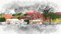 boat landing watercolor (JGKphotos) Tags: d500 johnkunze michigan upperpeninsula topaz topazsoftware topazimpression 7styles marina topazstudio