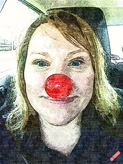 Practicing Tamara (PhotoJester40) Tags: indoors inside female blonde rednose sketching smiling posing displaying colorful blueeyes happy bright cheerful artistic closeup portrait beingplayful amdphotographer tamara lady woman friend havingfun lips eyes pretty