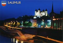 postcard - Saumur, France 3 (Jassy-50) Tags: postcard chateaudesaumur chateau castle saumur france loirevalley loireriver unescoworldheritagesite unescoworldheritage unesco worldheritagesite worldheritage whs night