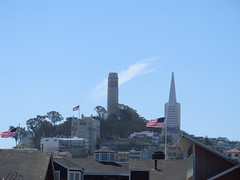 Coit Tower Transamerica Pyramid & 3 American Flags (Pest15) Tags: pier39 sanfrancisco outdoorphotography coittower transamericapyramid americanflags usflags flags