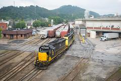 Work at Canton (ajketh) Tags: brs blue ridge southern emd sd40m2 sd45 t31 freight train railroad shortline watco paper mill canton asheville nc north carolina evergreen packaging trucks blu carbody wamx
