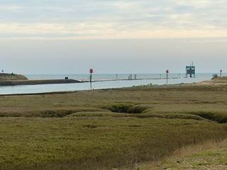 Rye harbour entrance high tide