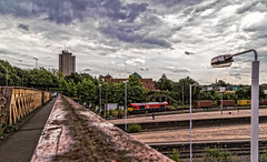Along Swain St Bridge (Peter Leigh50) Tags: leicester db cargo swain street bridge station containers train railway sky skyscape city cityscape platform class 66 red 66206 canon 6d eos shed