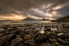 Elgol Dusk (Tracey Whitefoot) Tags: tracey whitefoot isle skye scotland island elgol dusk sunset beach rocks light drama dramatic landscape stones water sea coast coastal