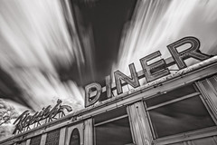Rosie's Diner - Explored! (MichellePhotos2) Tags: rosies diner rosiesdiner michigan westmichigan cedarsprings kentcounty ir infrared bw blackandwhite 20mm nikon d800e nikond800e kent clouds trees historic diningcar
