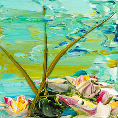 JUSTIN GAFFREY LP12X12-2017-126 (Justin Gaffrey) Tags: waterscape art painting acrylicpaint lake reeds waterlillies lilliepads pond water green aqua blue 12x12 30a sowal artist florida floridaartist justingaffrey