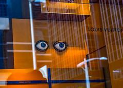 The Eyes Have It (Jane Olsen ( Chardonnay)) Tags: louisvuitton display window eyes boxes glass store calgary urban