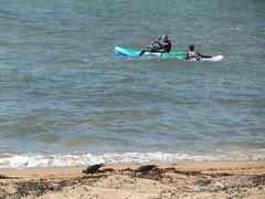 Activity at the coast (bryanilona) Tags: elie fife scotland harbour beach canoe waterboarding waves northsea seaweed jackdaws